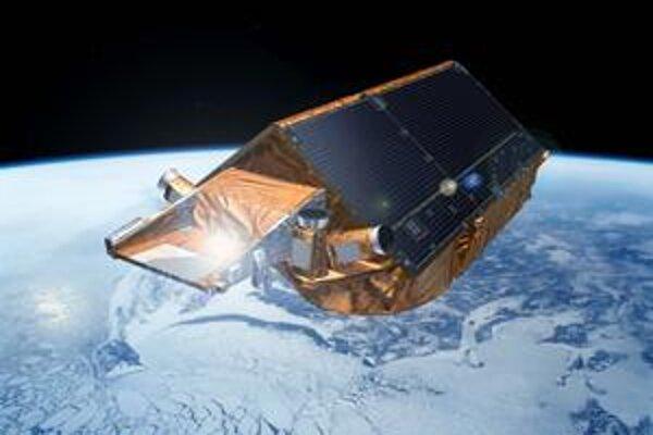 Kresba družice CryoSat-2. Družica CryoSat-2 by mala merať hrúbku ľadových vrstiev na našej Zemi s presnosťou 1 až 3 cm.