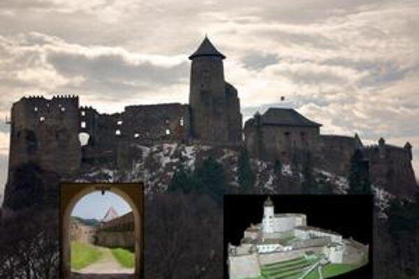 Ľubovniansky hrad. 1.celkový pohľad na hrad zo severu, 2. nádvorie, hradby a bašta v južnej časti hradu, 3. 3D model hradu z 18. stor.