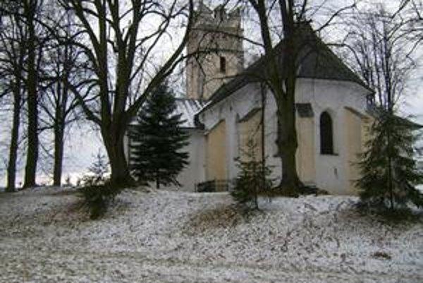 Svinia. Areál kostola s terénnymi úpravami (jedna z možností, kde stála fortifikácia).