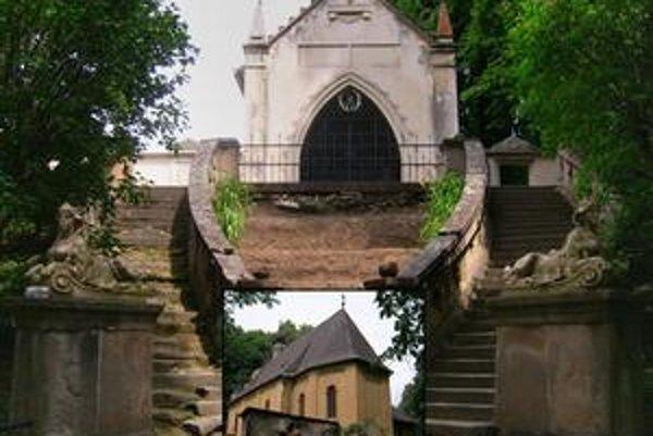 Fričovce. Areál kaplnky a kostol z juhovýchodu.
