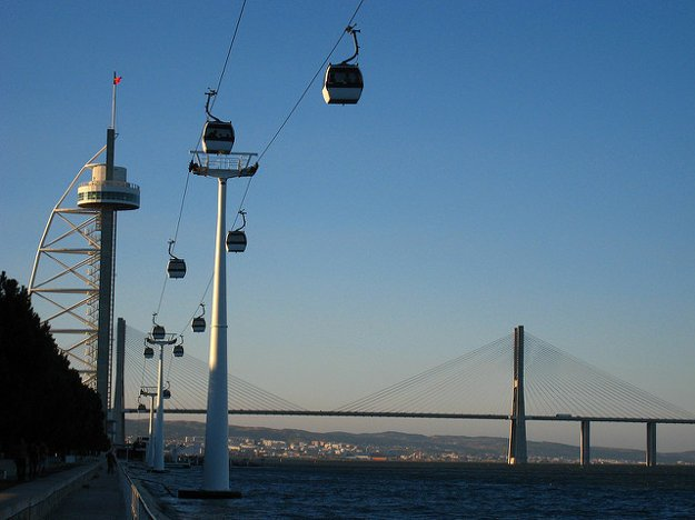 V Lisabone premáva po nábreží rieky popri Parque das Nações lanovka.