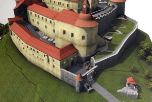 Vizualizácia hradu od autora Petra Kucharoviča, projektanta obnovy hradu.