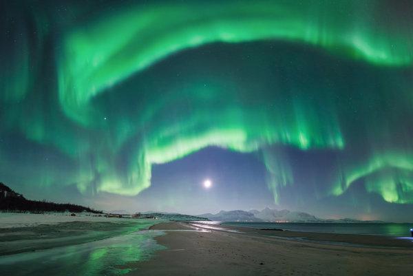 Polárna žiara v Nórsku.