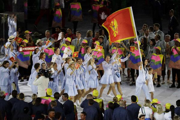 Tím Čiernej Hory na otváracom ceremoniály pred OH v Riu.