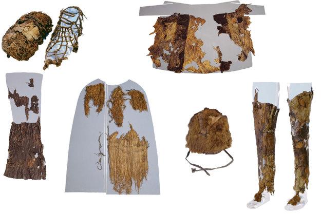 Repliky Ötziho oblečenia.