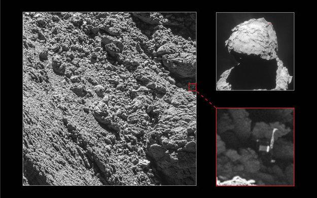 Kamera OSIRIS zachytila polohu Philae (v pravej časti) 2. septembra 2016.