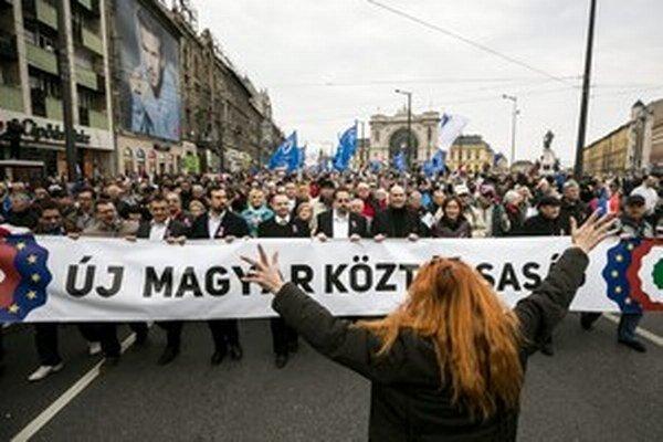 Takto sa demonštrovalo v uliciach Budapešti v marci.