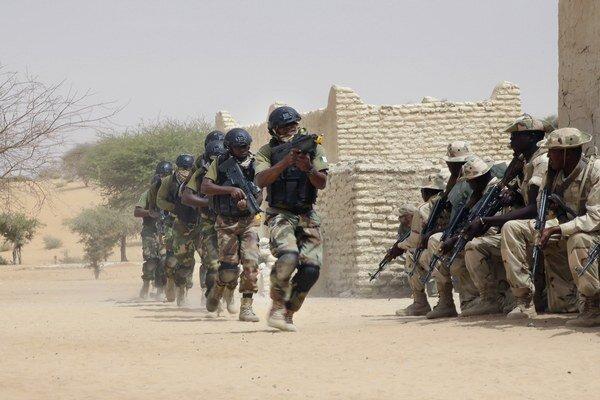 Špeciálne jednotky Nigérie prechádzajú okolo čadských vojakov.