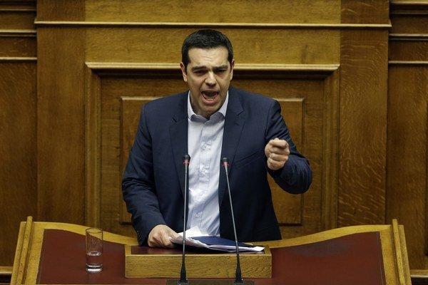 Grécky premiér Alexis Tsipras počas vystúpenia v gréckom parlamente, v ktorom predstavil programové vyhlásenie vlády.