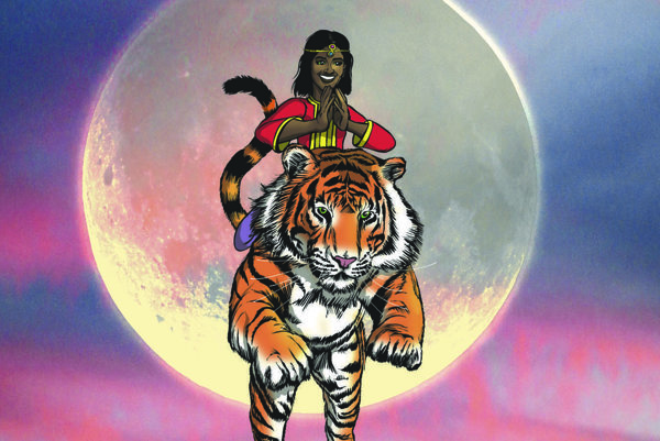 Hrdinka komiksu Priya jazdí na tigrovi a vlastní zázračné zrkadlo.