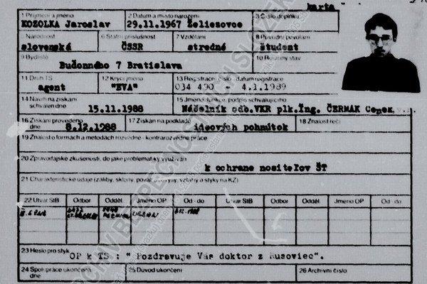 V českých archívoch bol aj spis Jaroslava Kozolku z Generálnej prokuratúry, ktorý spolupracoval s komunistickou vojenskou kontrarozviedkou.