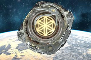 Logo a umelecký nákres satelitu Asgardie.