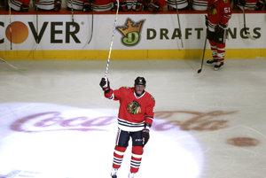 Marián Hossa po svojom 500. góle v NHL.