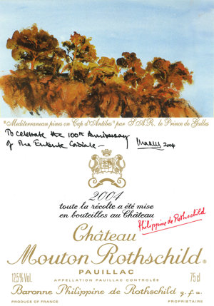 Etiketa vinárstva Château Monton Rothschild s maľbou od princa Charlesa.