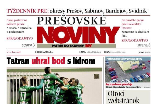Titulná strana týždenníka Prešovské noviny č. 43/2016