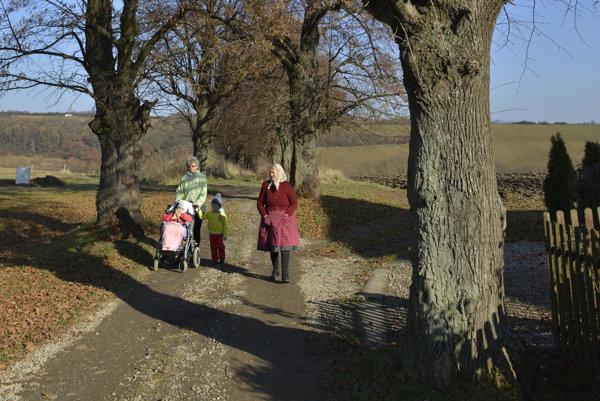 Obyvatelia obce počas prechádzky v lipovej aleji v obci Župčany.