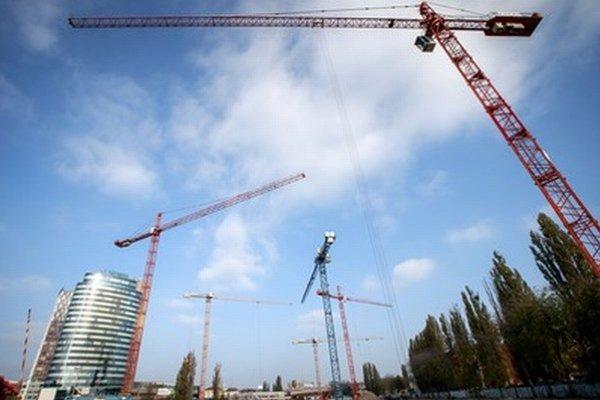 Výstavba Twin City v Bratislave.