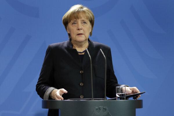 Angela Merkelová počas tlačovej konferencie.