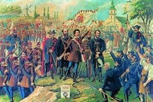 Revolučný deň - 15. marec 1848 na maľbe Lászlóa Bellonyho, uprostred stojí Sándor Petőfi. Ilustrácia vznikla k jeho najznámejšej básni Pieseň národa.