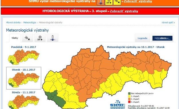 Pre región platí najbližšie dva dni výstraha.