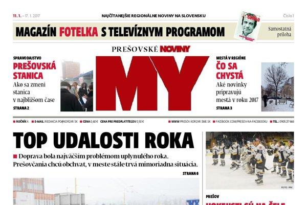 Titulná strana Prešovských novín č. 1/2017.