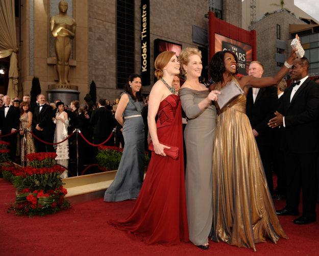 S kolegyňami Amy Adamsovou a Meryl Streepovou z filmu Pochybnosti