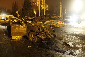 Miesto výbuchu na ulici v Donecku.
