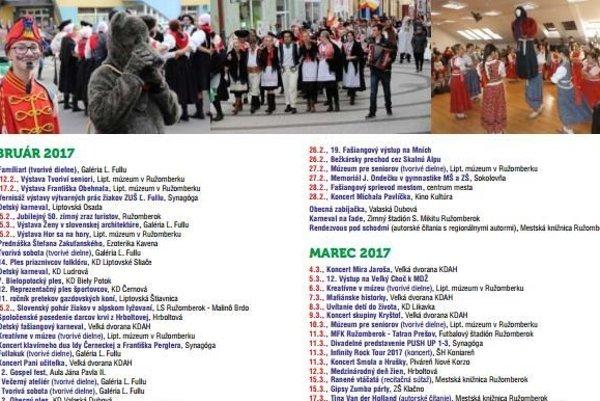 Kalendárium podujatí v Ružomberku obsahuje takmer päťsto pripravovaných akcií.