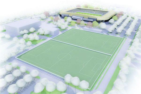 Susedia. Vľavo Cassospoert, dole tréningové ihriská, hore nová futbalová aréna.