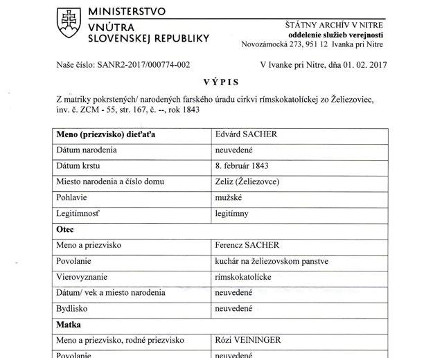 Aktuálny výpis zo štátneho archívu dokazuje, že sa Eduard narodil v Želiezovciach v roku 1843.