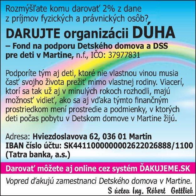 Podporiť môžete i organizáciu Dúha.