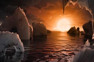 Vizualizácia možného povrchu planéty TRAPPIST-1F, ktorá sa nachádza v obývateľnej zóne.