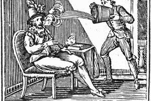 Sir Walter Raleigh fajčí fajku, sluha ho omylom polieva vodou, pretože si myslel, že jeho pán horí. Aj takéto zážitky mali prví fajčiari tabaku.