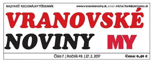 Vynovená hlavička Vranovských novín.