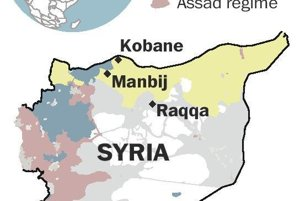 Žltá farba predstavuje územia pod kontrolou kurdských skupín, modrá sunnitských povstalcov, sivé územia ovláda Islamský štát a červené režim Baššár al-Asada.