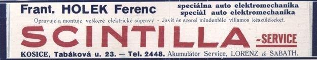 Scintilla service - dobová reklama.