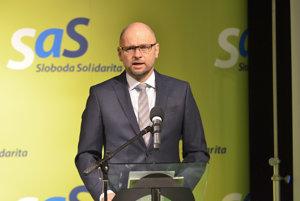 Predseda SaS Richard Sulík počas desiateho kongresu strany Sloboda a Solidarita (SaS) v Mestskom divadle Levoča. Levoča, 18. marec 2017.