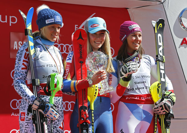 Najlepšie slalomárky sveta - zľava Veronika Velez-Zuzulová, Mikaela Shiffrinová a Wendy Holdenerová.