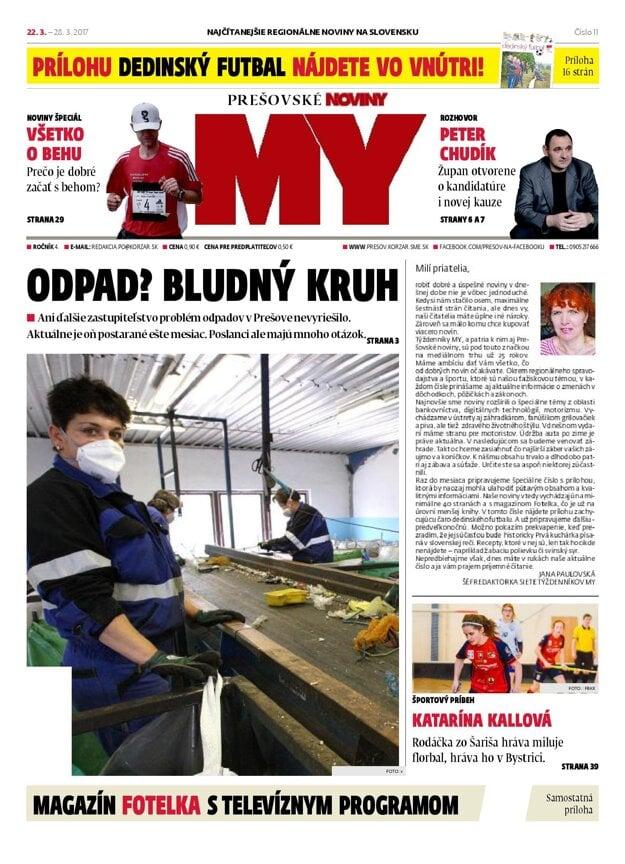 Titulná strana týždenníka MY Prešovské noviny č. 11/2017.