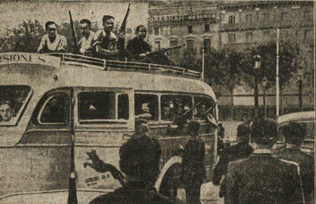 Ozbrojená milícia v španielskych uliciach r. 1936.
