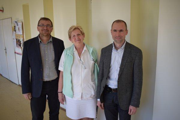 Nové vedenie nemocnice. Michal Orihel, Vlasta Bezáková a Ján Murgaš.