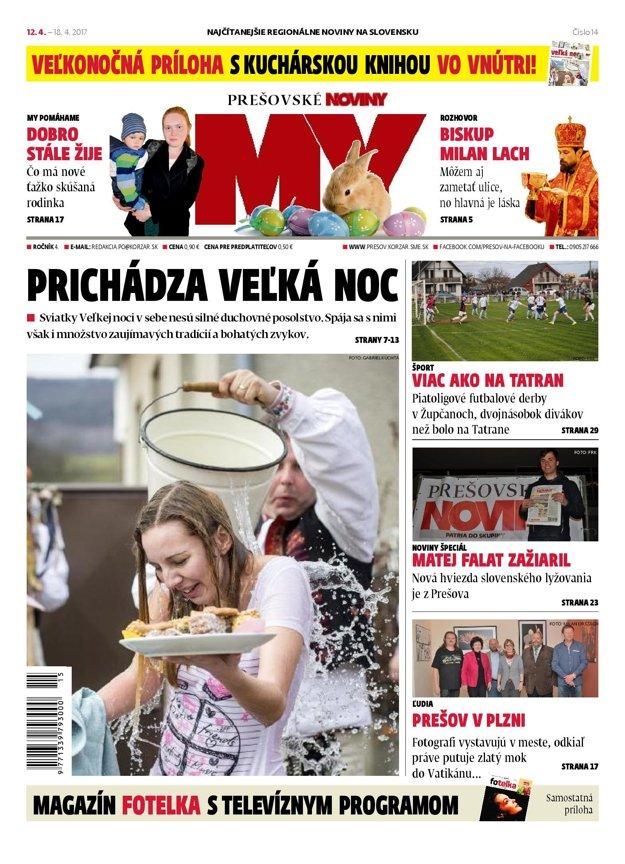 Titulná strana týždenníka MY Prešovské noviny č. 14/2017.