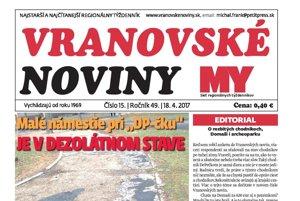 Titulná strana týždenníka Vranovské noviny, 18. 4. 2017