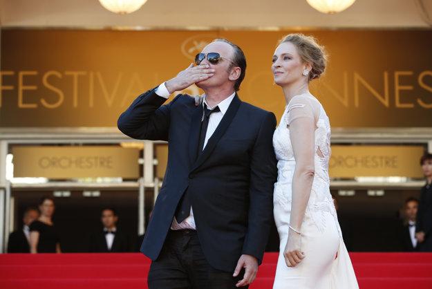 Uma Thurman a Quentin Tarantino na festivale v Cannes.