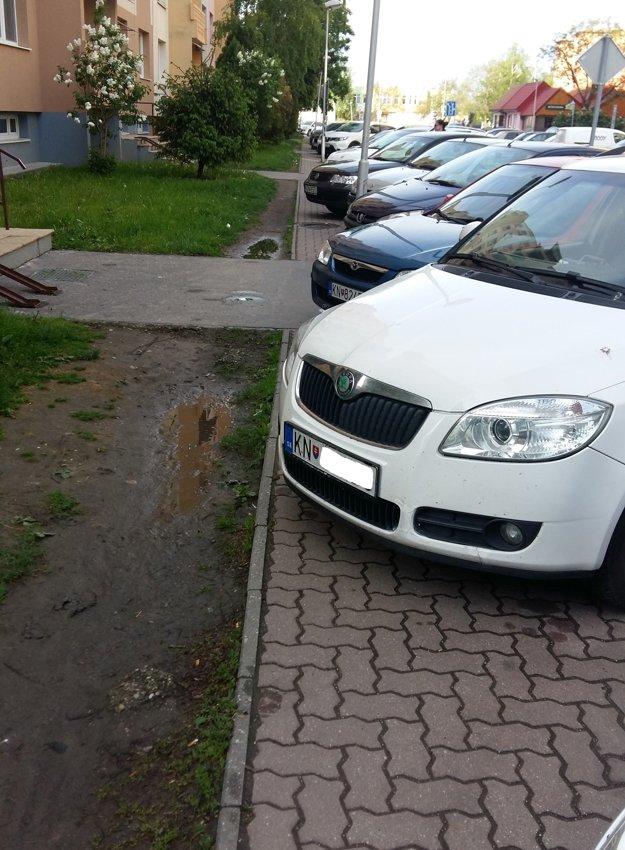Auto zabralo celý chodník. Chodcom ostalo len blato amláka.