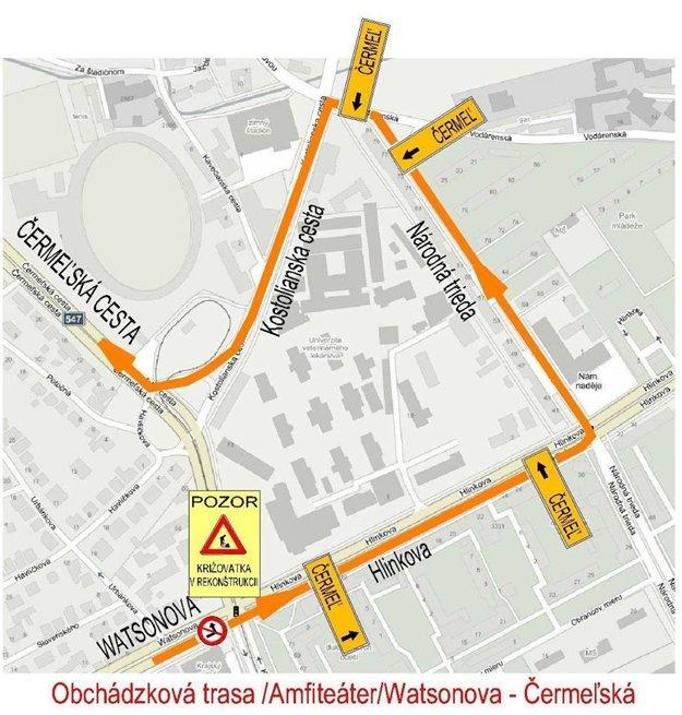 Obchádzková trasa. Z Watsonovej smerom na Čermeľ sa autá dostanú po oranžovou čiarou vyznačenej obchádzke.