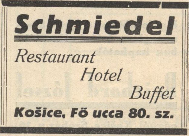 Hotel Schmiedl na reklame z r. 1932.