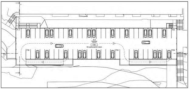 Variant strechy bez parku s dodatočnými nekrytými parkovacími miestami.