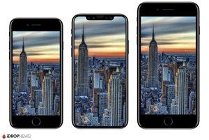 iPhone 8 by mal vyzerať ako model v strede. Naľavo je iPhone 7 a napravo iPhone 7 Plus.