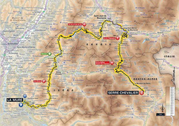 Mapa sedemnástej etapy Tour de France 2017.